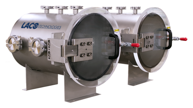 Dual industrial vacuum chambers with custom ports